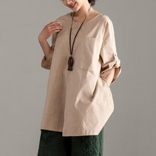 Afbeelding in Gallery-weergave laden, Elegant pure cotton tops oversize  Casual Short Sleeve Khaki Pocket Long Tops