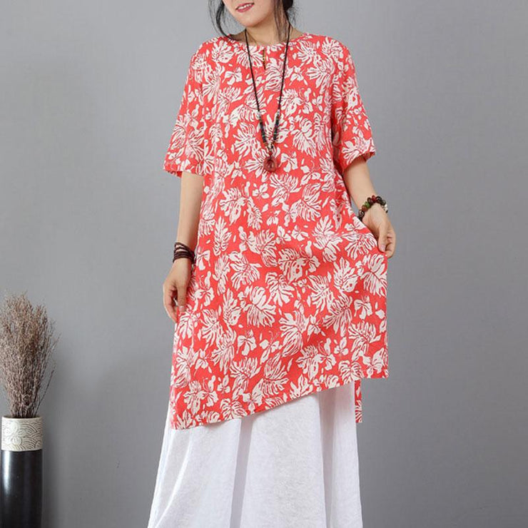 Elegant pure linen tops plus size Printed Ethnic Linen Cotton Split Orange Red Tops