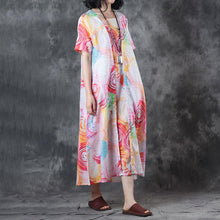 Load image into Gallery viewer, Elegant pure linen tops trendy plus size False Two-piece Short Sleeve Printed Summer Dress