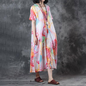 Elegant pure linen tops trendy plus size False Two-piece Short Sleeve Printed Summer Dress