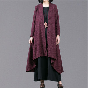 Elegant purple Jacquard maxi coat trendy plus size baggy large hem asymmetrical design trench coat top quality patchwork Coat