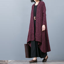Load image into Gallery viewer, Elegant purple Jacquard maxi coat trendy plus size baggy large hem asymmetrical design trench coat top quality patchwork Coat