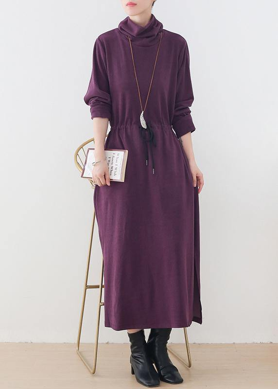 Elegant purple clothes For Women high neck drawstring Kaftan  Dresses