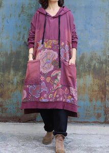 Elegant purple cotton Tunics prints long big pockets Dress