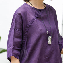 Load image into Gallery viewer, Elegant purple natural cotton linen dress oversize traveling clothing Fine short sleeve O neck a line skirts cotton linen dress