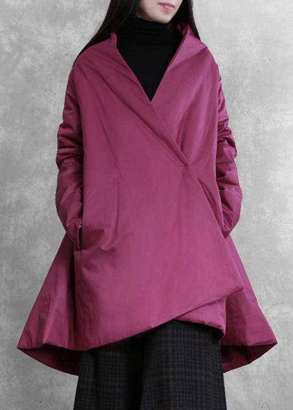 Elegant purple winter outwear casual snow v neck asymmetric coats