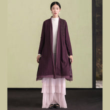Load image into Gallery viewer, Elegant purple wool overcoat Loose fitting embroidery Winter coat patchwork jacket
