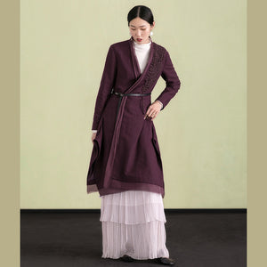 Elegant purple wool overcoat Loose fitting embroidery Winter coat patchwork jacket