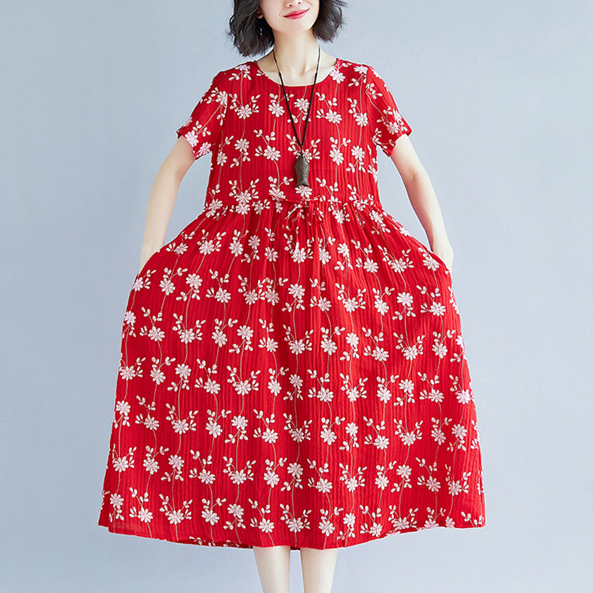 Elegant red Midi-length cotton blended dress Loose fitting traveling clothing New short sleeve print drawstring clothing dress
