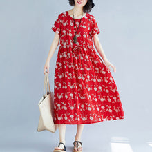 Load image into Gallery viewer, Elegant red Midi-length cotton blended dress Loose fitting traveling clothing New short sleeve print drawstring clothing dress