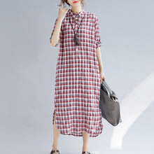 Load image into Gallery viewer, Elegant red Plaid cotton maxi shirt dress oversize Turn-down Collar gown 2018 long sleeve side open cotton shirt dresses