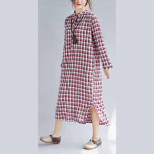 Elegant red Plaid cotton maxi shirt dress oversize Turn-down Collar gown 2018 long sleeve side open cotton shirt dresses