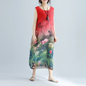 Elegant red floral cotton dress casual sleeveless long cotton dresses fine side open cotton dress