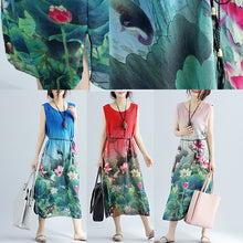 Load image into Gallery viewer, Elegant red floral cotton dress casual sleeveless long cotton dresses fine side open cotton dress