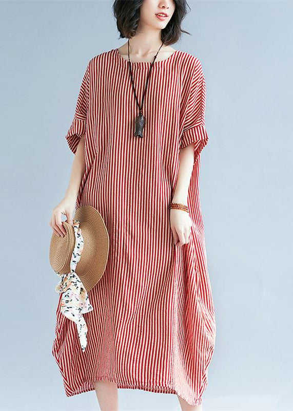 Elegant red linen maxi dress plus size O neck striped linen clothing  dresses Fine baggy dresses caftans