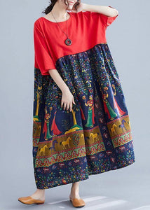 Elegant red patchwork print cotton clothes o neck Robe summer Dresses