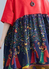 Load image into Gallery viewer, Elegant red patchwork print cotton clothes o neck Robe summer Dresses