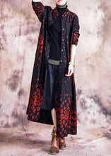 Load image into Gallery viewer, Elegant red print coats oversize fall outwear Button Down pockets coat