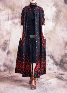 Elegant red print coats oversize fall outwear Button Down pockets coat