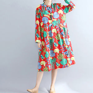 Elegant red prints pure linen dresses casual maxi dress women long sleeve patchwork midi dress