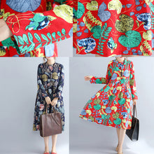 Load image into Gallery viewer, Elegant red prints pure linen dresses casual maxi dress women long sleeve patchwork midi dress
