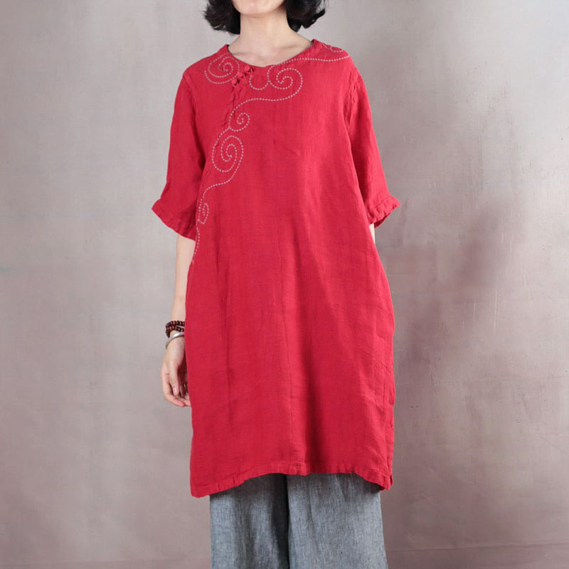 Elegant red pure linen tops plus size linen t shirt boutique half sleeve embroidery fabric O neck linen clothing tops