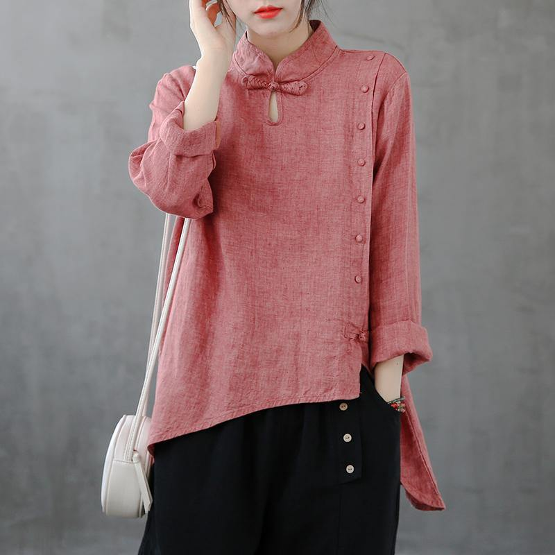 Elegant red top stand collar asymmetric oversized shirts