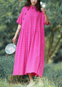Elegant stand collar linen summer Robes Photography rese plaid Dress