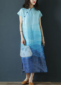 Elegant stand collar side open linen clothes Photography blue print Dresses