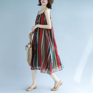 Elegant striped maxi dresses Spaghetti Strap floor dress holiday dress