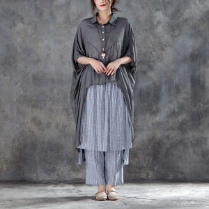Elegant summer cotton blended t shirt oversize  Single Breasted Short Sleeve Loose Irregular Gray Blouse