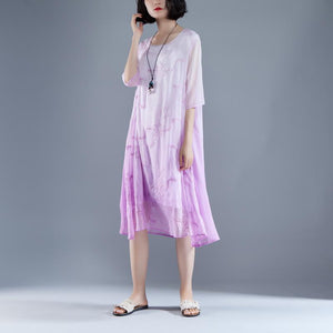 Elegant summer maxi dress trendy Flower Summer Fake Two-piece Retro Purple Dress