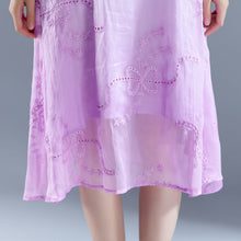 Indlæs billedet i galleriviseren, Elegant sommer maxikjole trendy Flower Summer Fake To-delt Retro Purple Dress