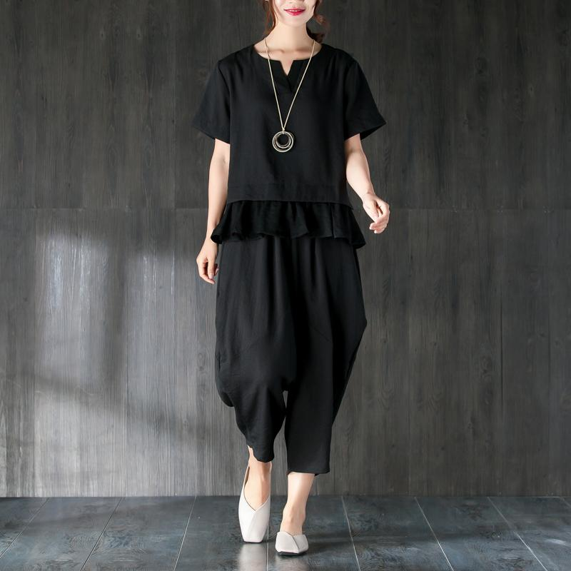Elegant summer t shirt oversize Black Two Pieces Set Splicing Blouse Lantern Pants