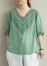 Load image into Gallery viewer, Elegant v neck half sleeve linen tunic top Photography green hollow out tops