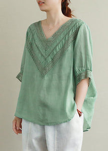 Elegant v neck half sleeve linen tunic top Photography green hollow out tops
