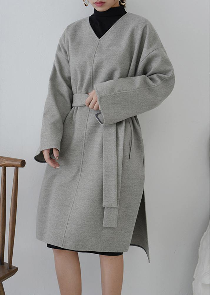 Elegant v neck tie waist tunic dress Fashion Ideas gray Dresses