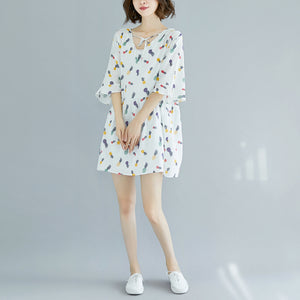Elegant white Midi cotton dresses casual dress top quality Half sleeve floral v neck knee dresses
