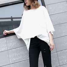 Load image into Gallery viewer, Elegant white Midi cotton pullover Loose fitting cotton t shirt casual batwing sleeve loose waist cotton clothing