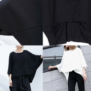 Elegant white Midi cotton pullover Loose fitting cotton t shirt casual batwing sleeve loose waist cotton clothing