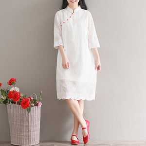 Elegant white chiffon dress Stand Half sleeve party dress patchwork embroidery beach dress