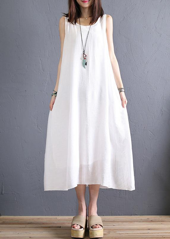 Elegant white cotton clothes o neck sleeveless Art summer Dresses
