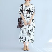 Load image into Gallery viewer, Elegant white linen dress plus size asymmetric design striped cotton dresses vintage o neck linen cotton dress