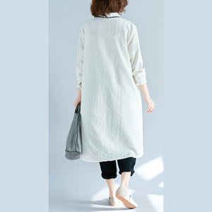 Elegant white pure cotton shirt dresses plus size cotton dresses New long sleeve Turn-down Collar pockets cotton shirt dress