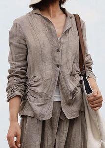 Elegant wrinkled linen fall tunic pattern Work Outfits nude blouse