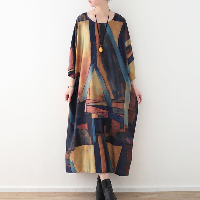 Elegant yellow blue prints chiffon maxi dress Loose fitting o neck chiffon maxi dress women half sleeve caftans