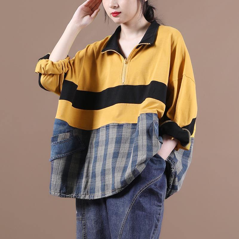Elegant yellow clothes For Women lapel zippered Midi blouse