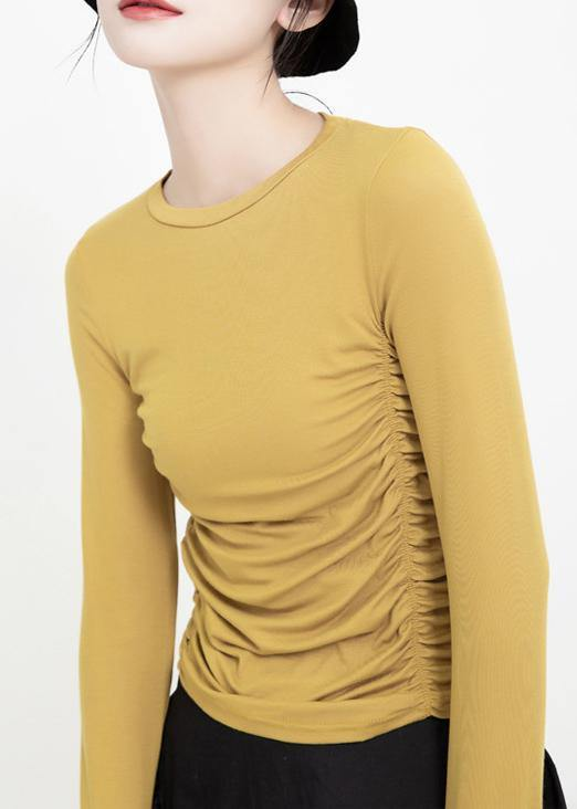 Elegant yellow cotton clothes wrinkled wild o neck pullover