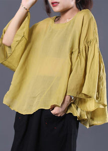 Elegant yellow linen Tunic Cotton o neck summer ruffles shirt