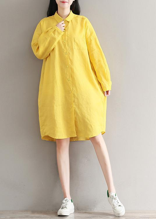 Elegant yellow linen clothes For Women top quality design lapel spring shirt Dresses